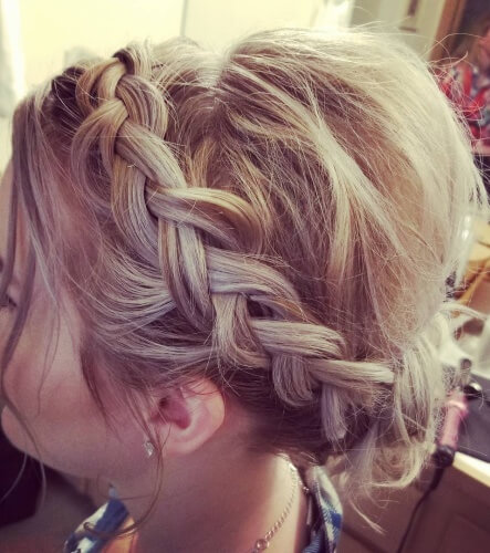 Bouffant Halo Braid Chignon Hairstyle with Loose Strands