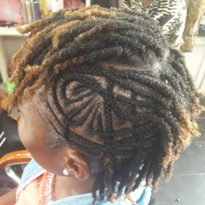 Creative Cornrows and Twists Short Kinky Hairstyle
