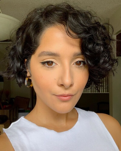 Cropped Short Bob Haircut for Thick Curly Hair