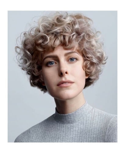 Cropped and Curly Bob Cut with Short Bangs