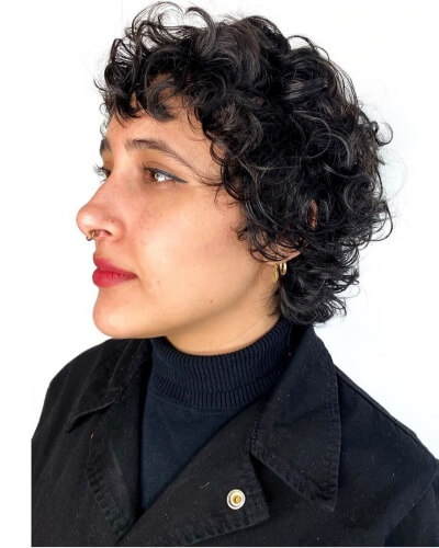 Curly Retro Mod Cut with Shaggy Layers