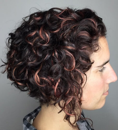 Deep Inverted Bob Cut for Curly Hair and Round Face