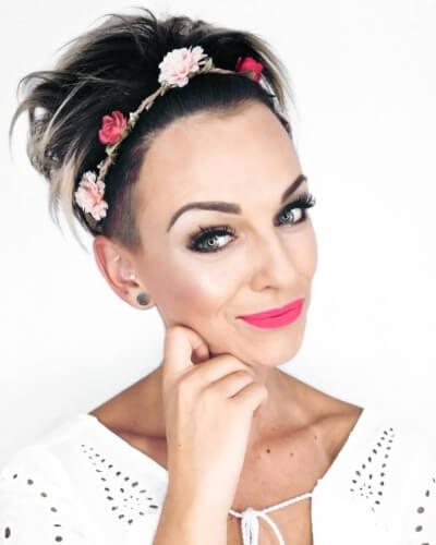Flower Crown Headband on Long Pixie Cut