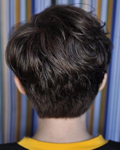 Gamine Hairstyle with Blocked Neckline