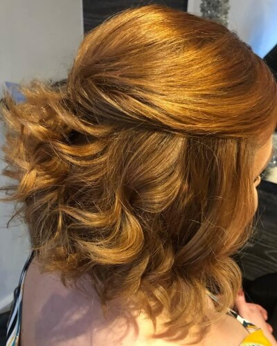 Half Updo Hairstyle for Short Wavy Hair