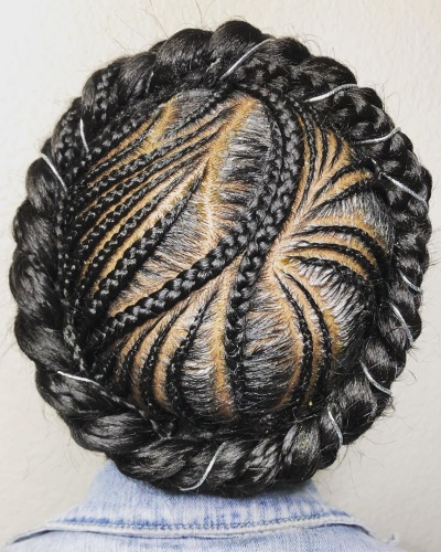 Halo Braid with Cornrows Protective Hairstyle