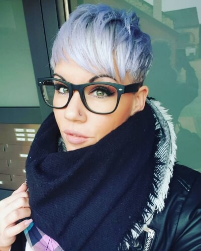 Icy Blue Ombre on Pixie Cut
