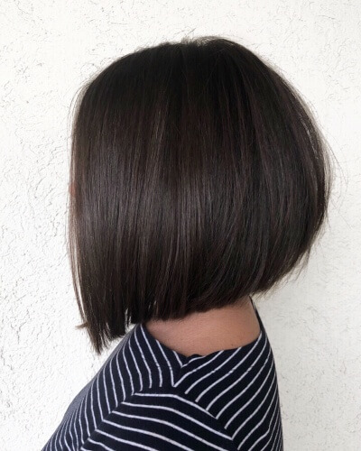 Inverted Medium Bob Haircut for Thick Straight Hair