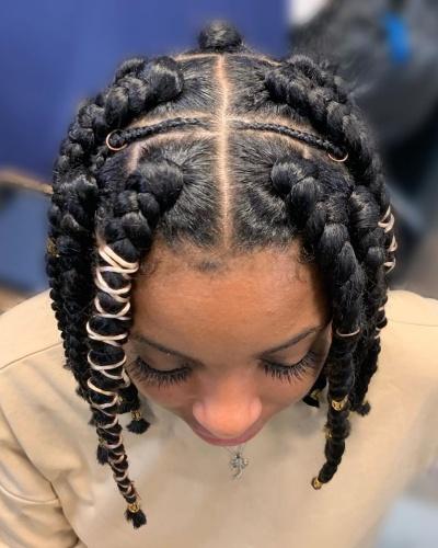 Jumbo Box Braids and Cornrows Short Hairstyle