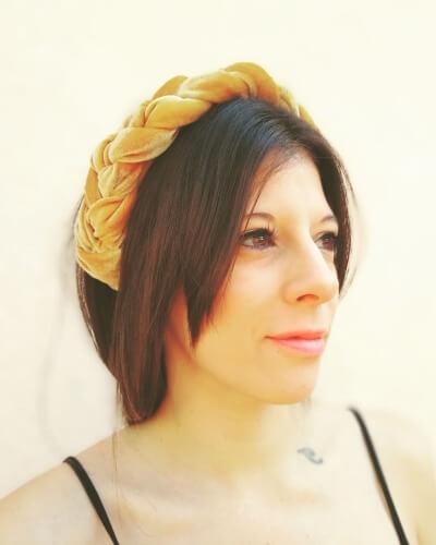 Jumbo Padded Velvet Headband with Medium Bob Haircut