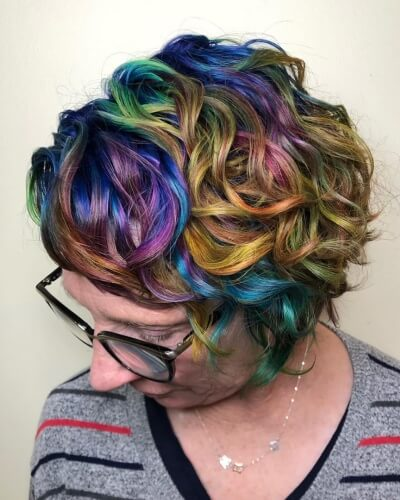Multi-color Highlights on Pixie Cut with Long Bangs