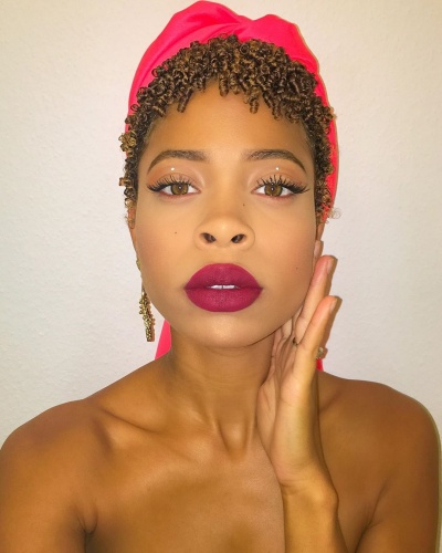 Natural Pixie Coils with Head Scarf