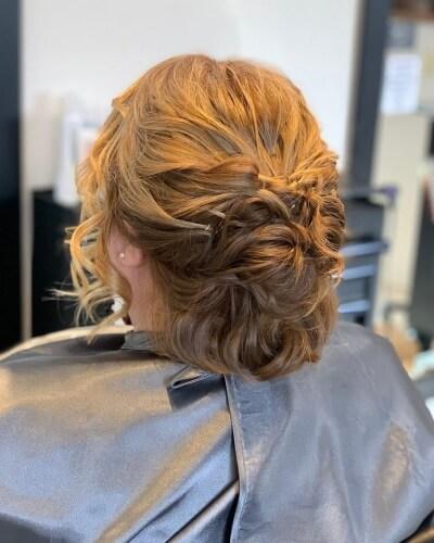 Ornate Formal Pinned Updo for Short Wavy Hair