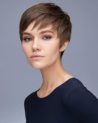 Piecey Layered Pixie Cut with Side Bangs