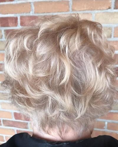 Piecey Short Messy Haircut for Mature Wavy Hair
