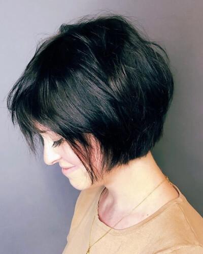 Shaggy Layered Angled Bob Haircut for Straight Hair