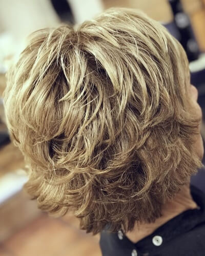 Shaggy Piecey Feathered Bob Haircut