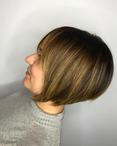 Short A-line Bob with Caramel Highlights and Long Layers