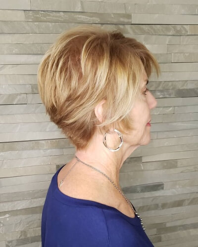 Short Blowout Hairstyle with Tapered and Angled Back
