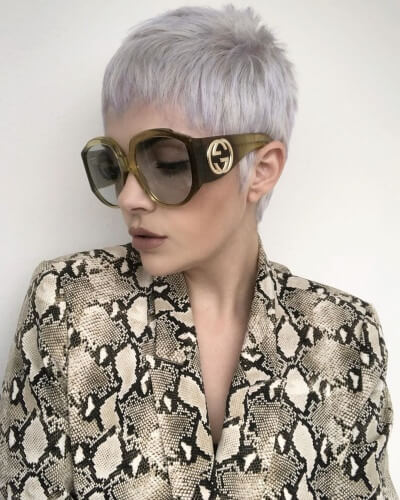 Short Pixie Cut with Short Jagged Bangs