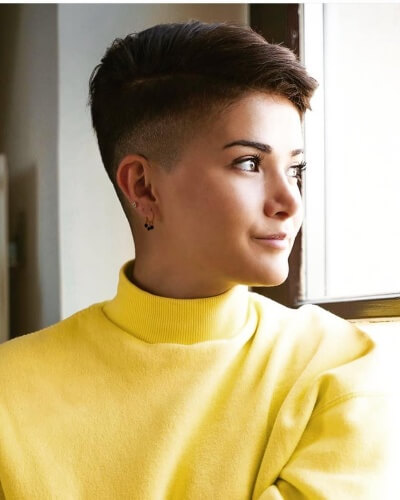Short Quiff Haircut with Dual-level Taper Fade Undercut
