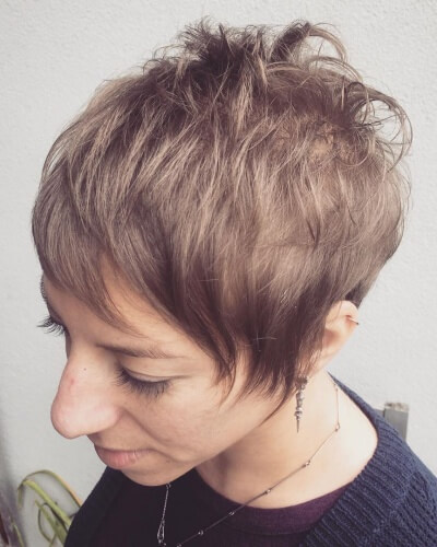 Short Textured Pixie Cut with Baby Bangs