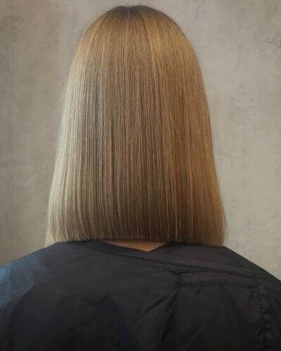 Shoulder-length Blunt Bob Haircut for Super Straight Hair