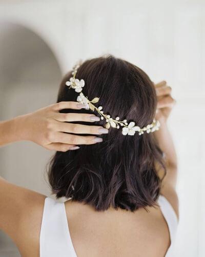 Simple Metallic Flower Crown Short Wedding Hairstyle