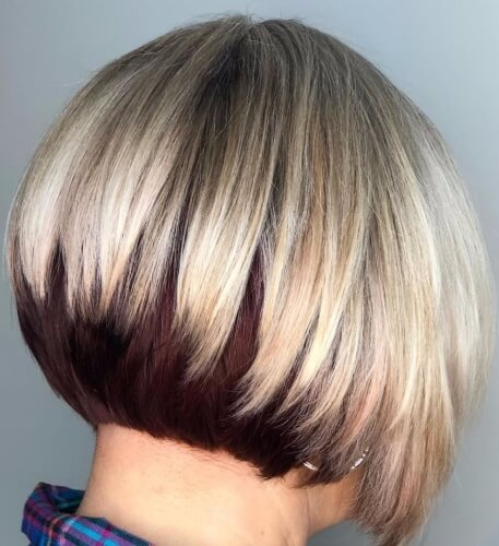 Stacked Two Tone Bob Hairstyle