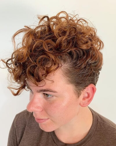 Tapered Pompadour Pixie with Long Bangs Hairstyle