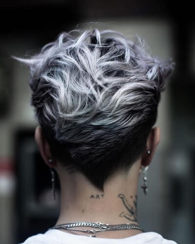 Tapered V-shaped Pixie Cut with Long Piecey Top