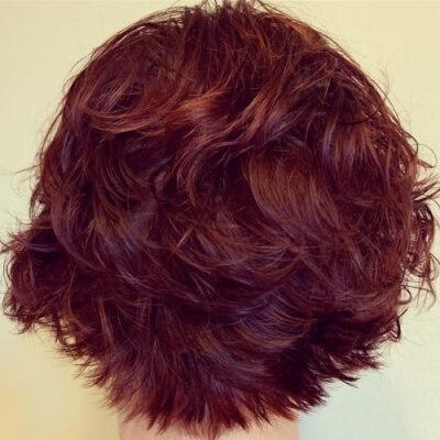 Textured Shaggy Layers on Triangle Graduated Bob Haircut