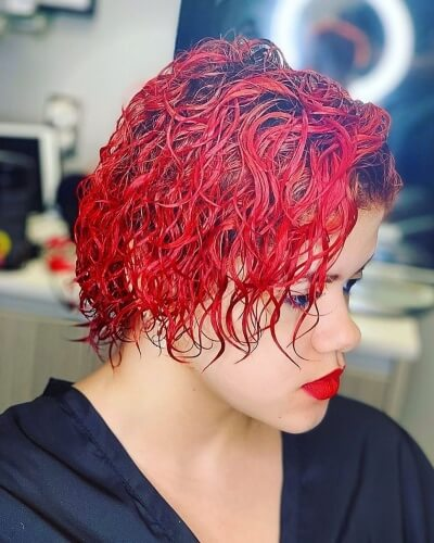 Wet Look Short Layered Curly Bob Hairstyle