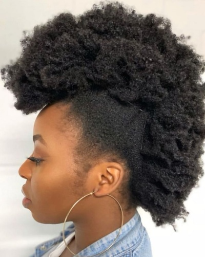 Afro Faux Hawk with Kinky Bangs