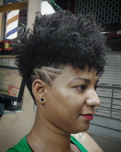 Afro Pixie Hairstyle with Tapered Undercut Design