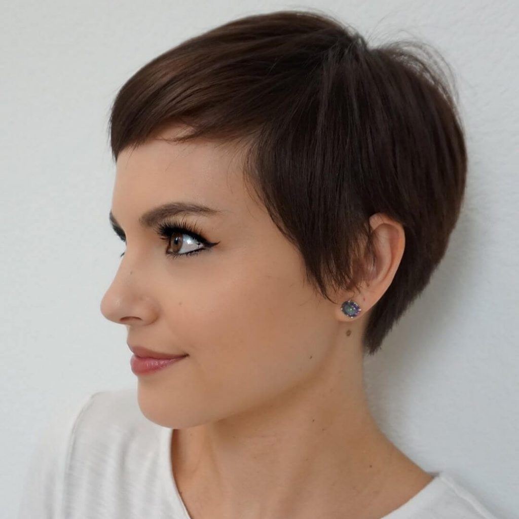 Baby Bangs Pixie Hairstyle for Heart Shaped Faces