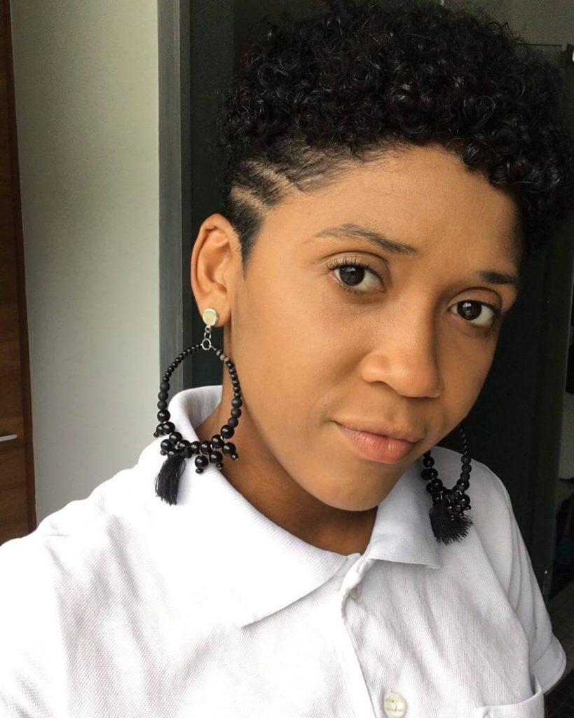 Big Chop Natural Haircut with Line Design Undercut for Heart Shaped Faces