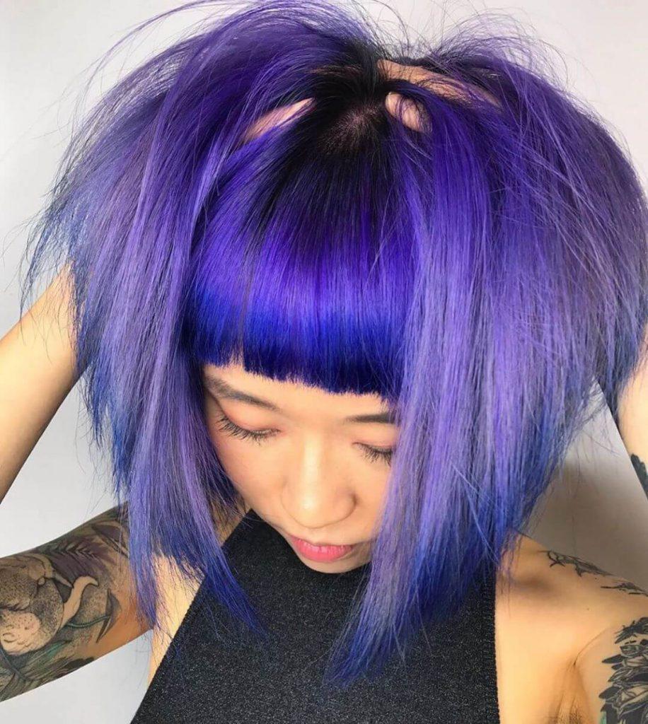 Blunt Frontal Bangs and Inverted Bob Haircut