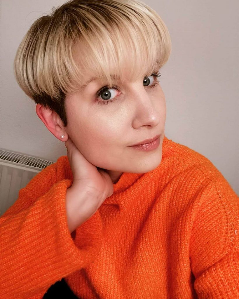 Brown Undercut with Blonde Arched Bowl Cut Hairstyle