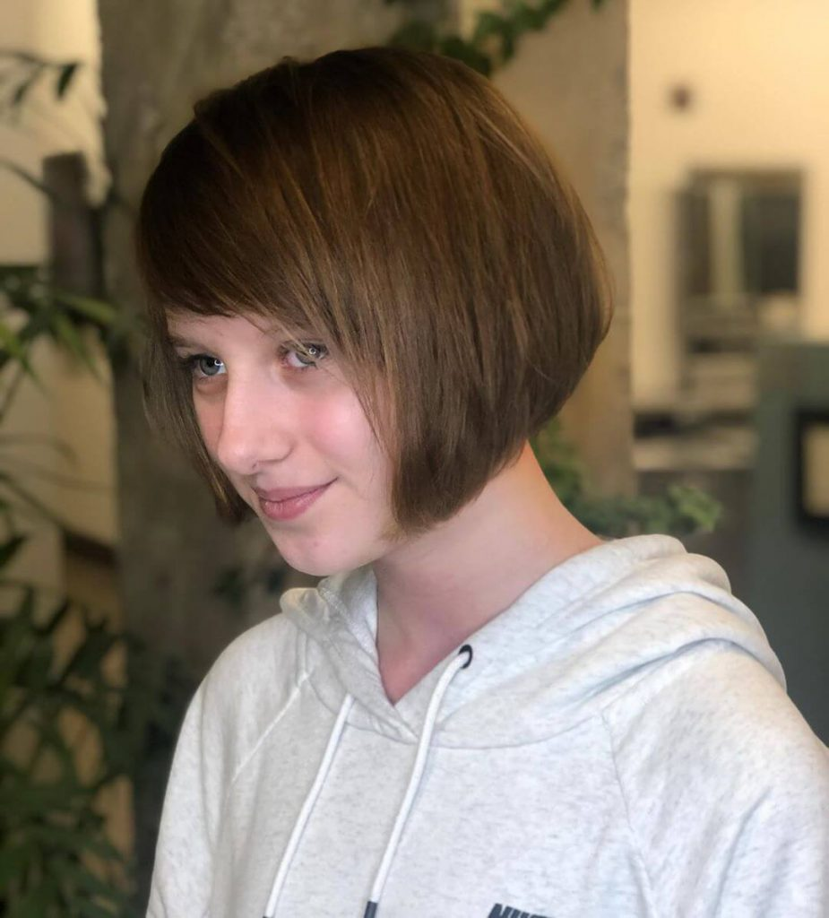 Chin-length Inverted Bob Hairstyle with Side Bangs