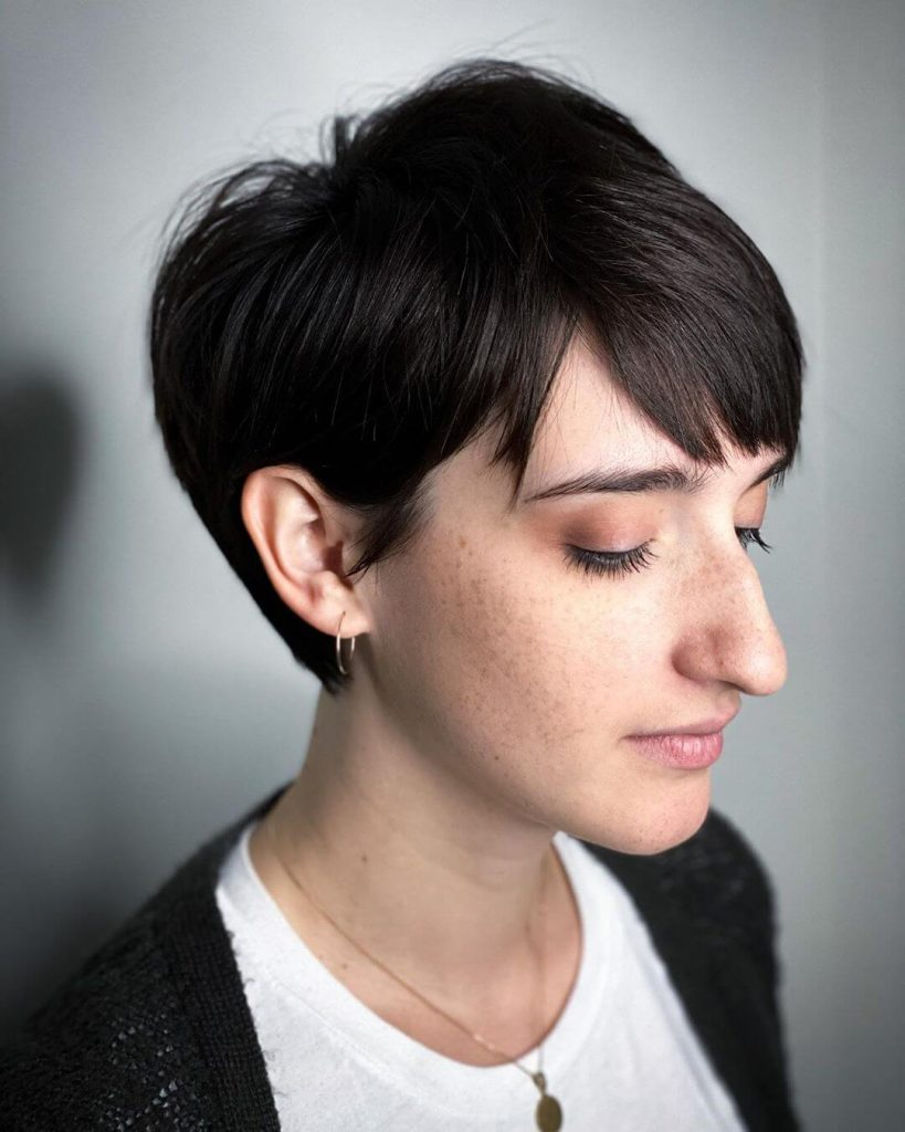 Choppy Pixie Bob with Messy Bangs for Oval Faces
