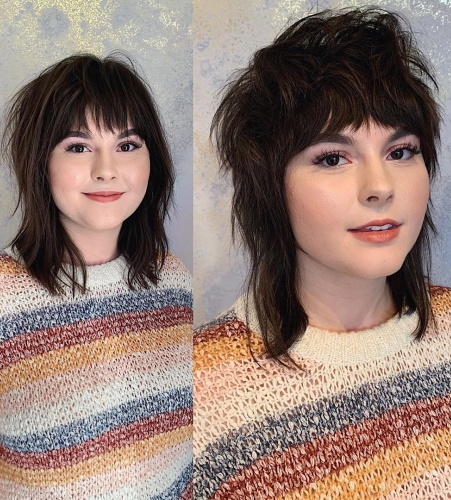 Choppy Textured Bangs and Top with Mullet Haircut