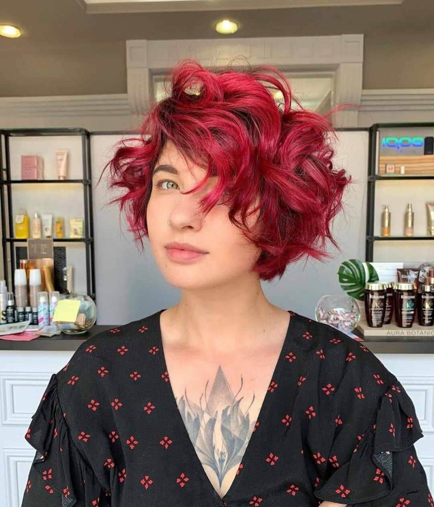 Deep Side Part Short Bob for Thick Curly Hair