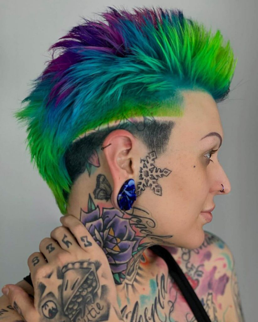 Edgy Spiky Textured Mohawk with Surgical Line Undercut