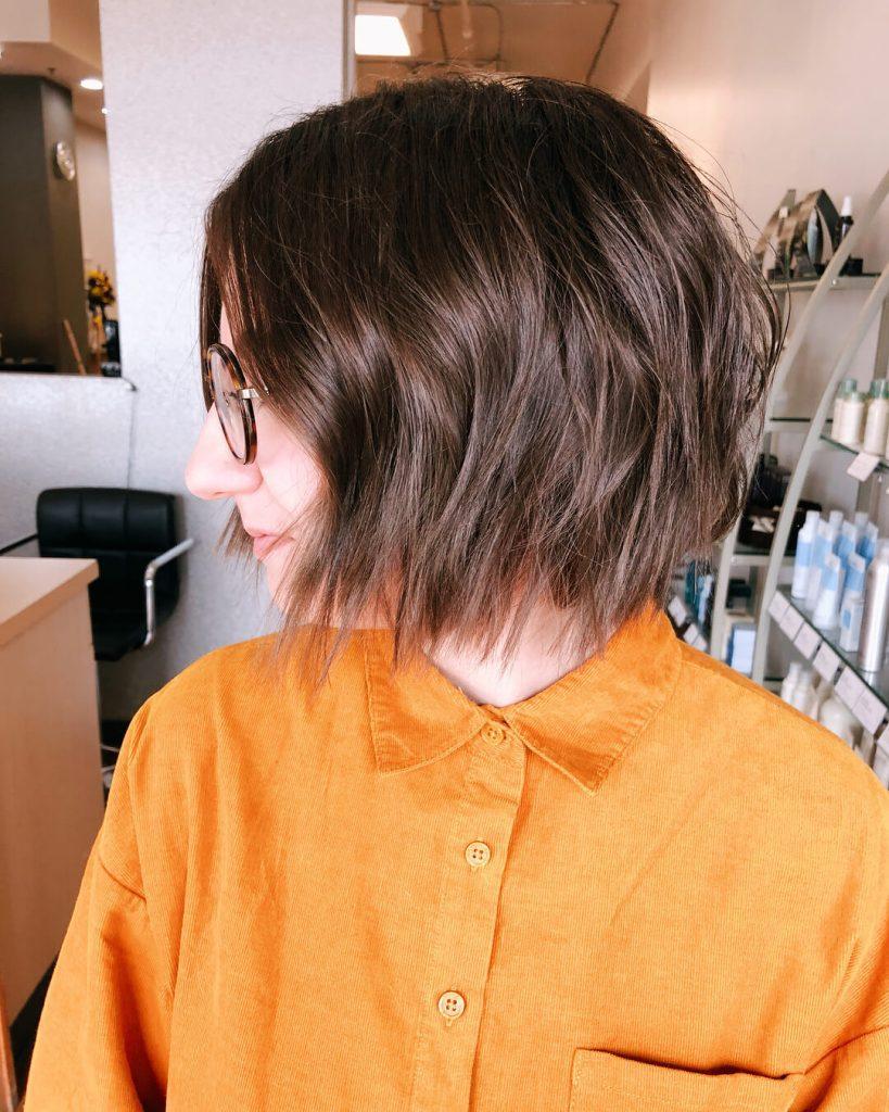 Feathered Tips Choppy Wavy Bob Hairstyle