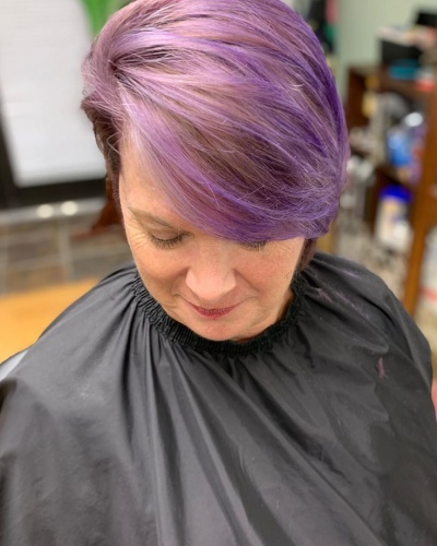 Fine Hair with Long Side Swept Pixie Haircut