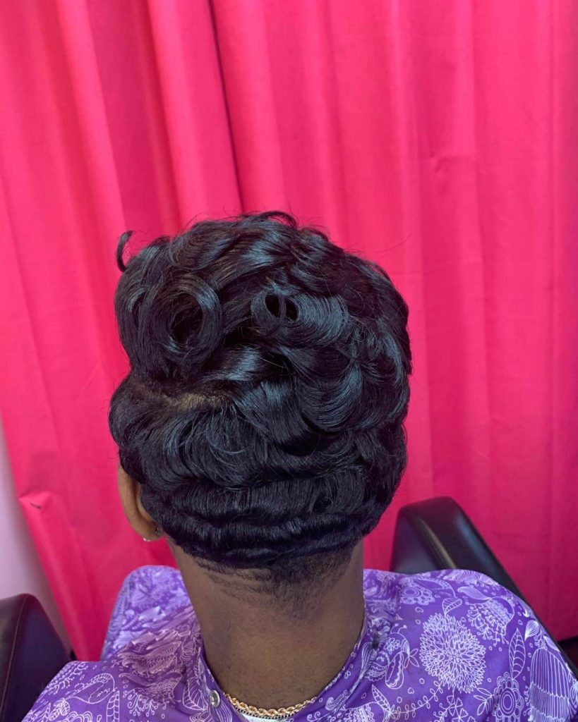 Flat Layered Curls Short Weave and Tapered Neckline for Round Faces