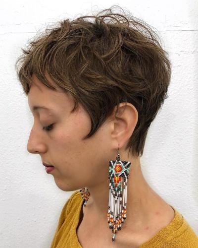 Jagged Short Bangs on Angular Textured Pixie Cut