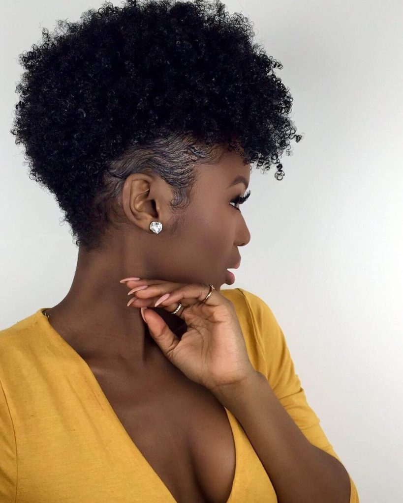 Kinky Faux Hawk Hairstyle with Low Taper