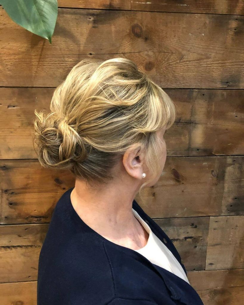Messy Bun Low Maintenance Short Hairstyle for Round Faces